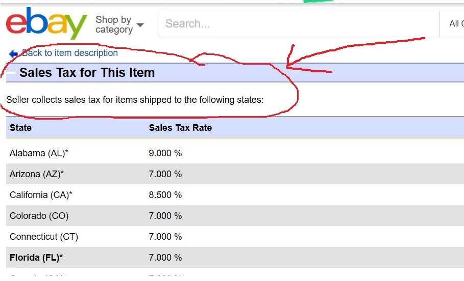 The Sales Tax Table Scam The Ebay Community