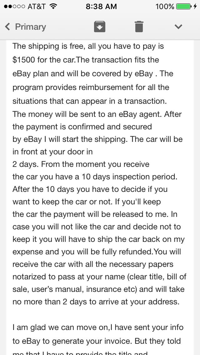 The EBay Community  Private Car Sale Contract Payments