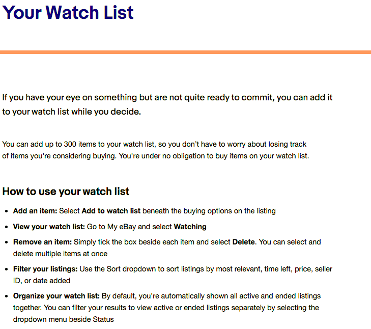 Solved How Many Items Can You Save To Your Watch List The Ebay Community