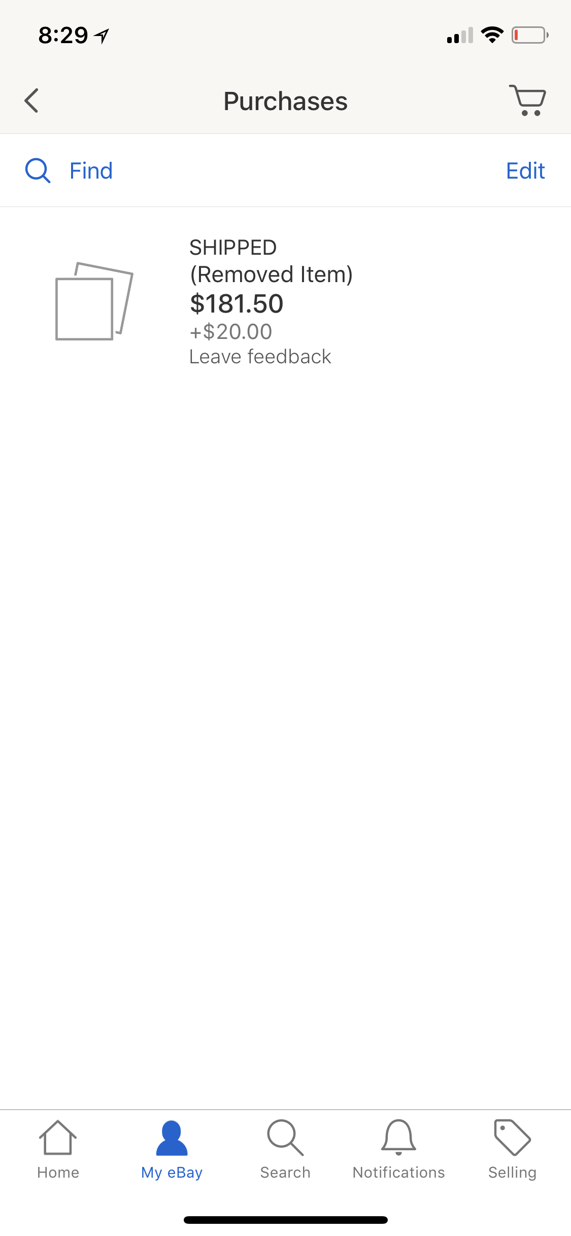 Item Removed From Purchases Can T Leave Feedback The Ebay Community