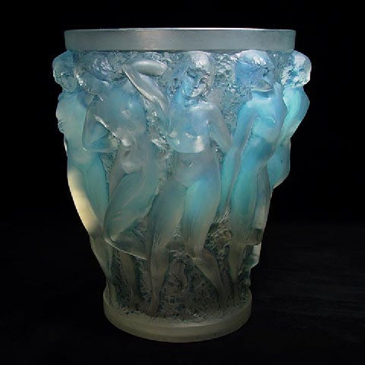 1927 Lalique Blue Opalescent Bacchantes Vase Sold The Ebay