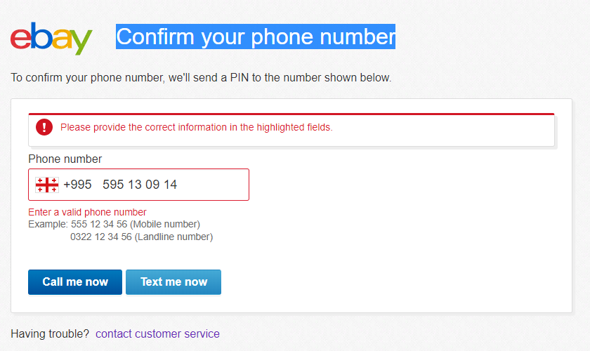 Confirm My Phone Number Verify Pin I Have Probl The Ebay Community