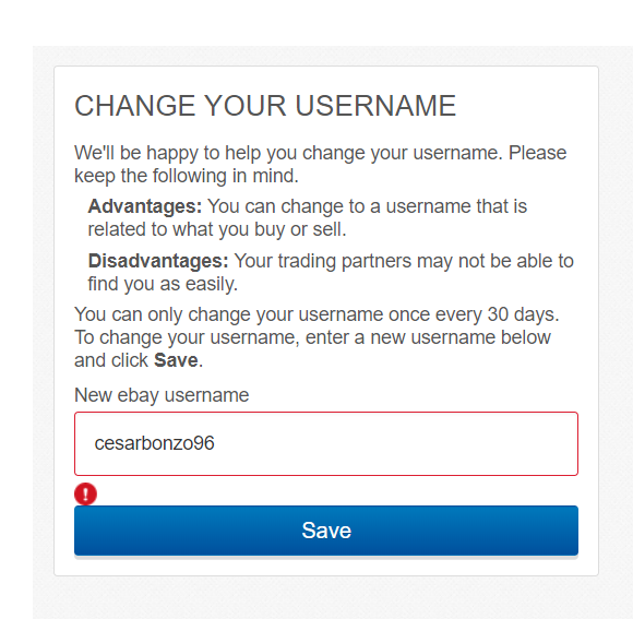 Solved Can T Change My User Id The Ebay Community
