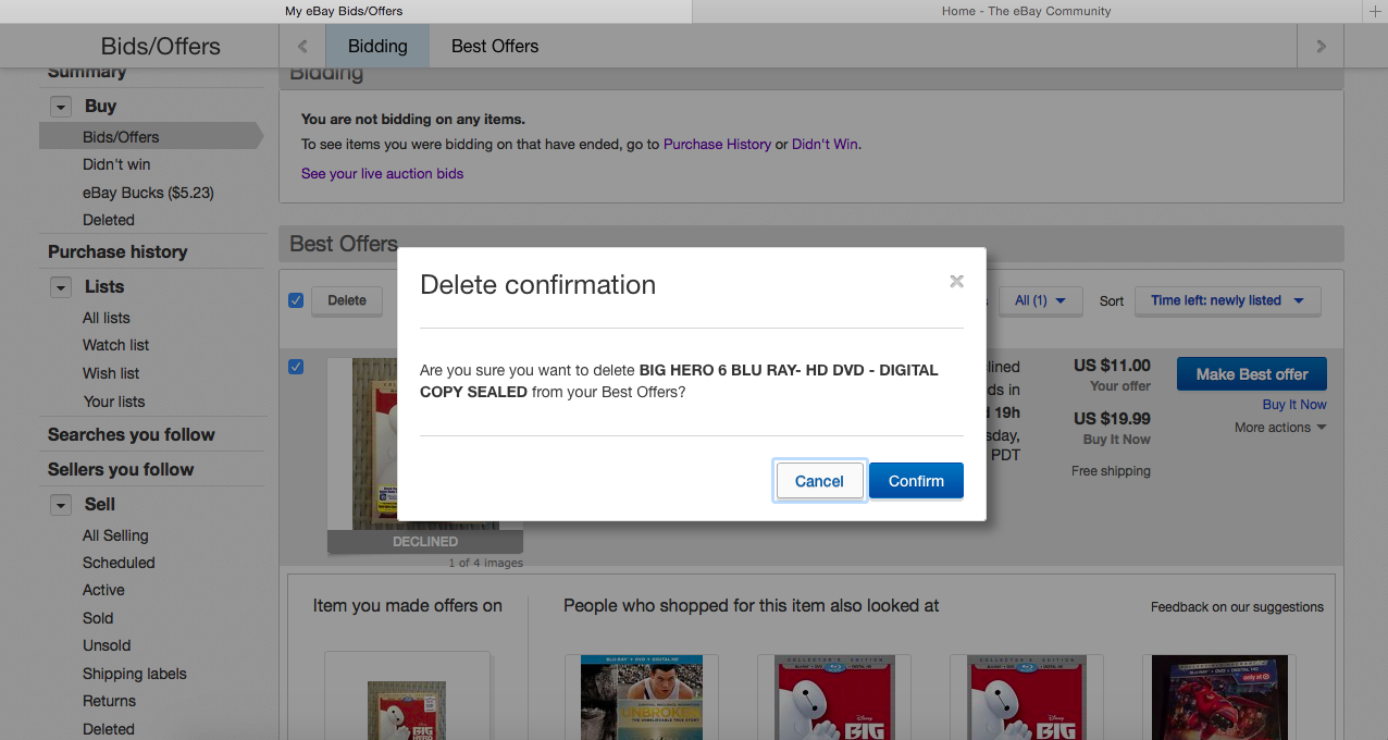 unable to delete a declined best offer off my acco the unable to delete a declined best offer off my acco the community