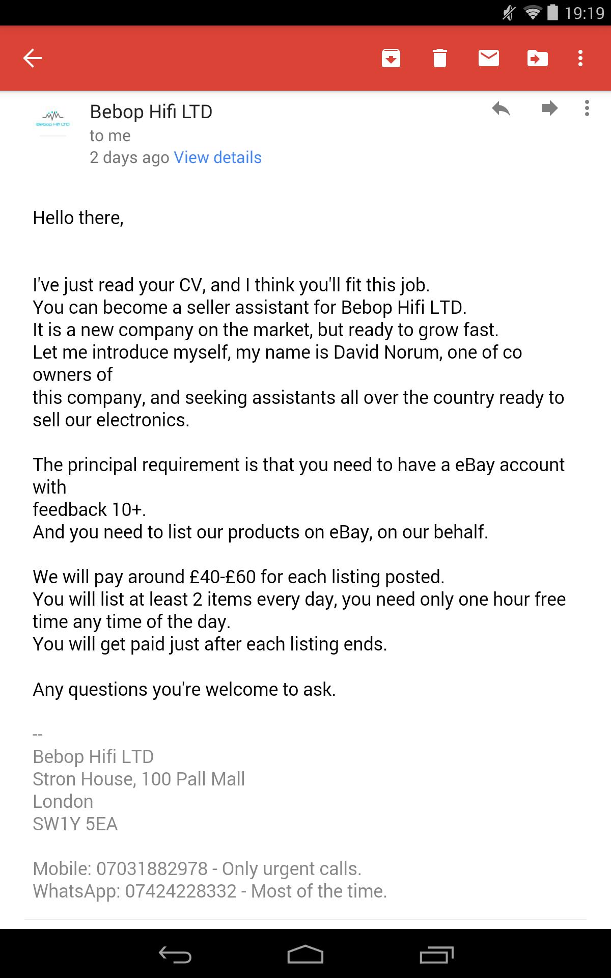 Bebop Hifi LTD scam? - The eBay Community