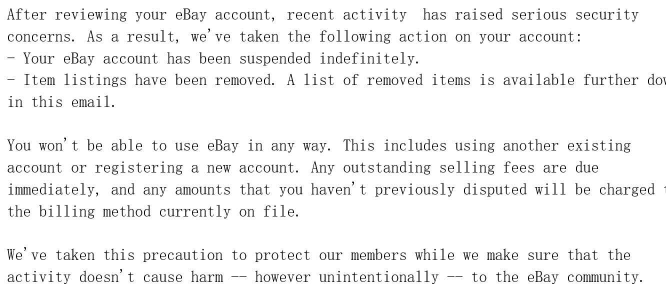 Permanent Suspended Account The Ebay Community