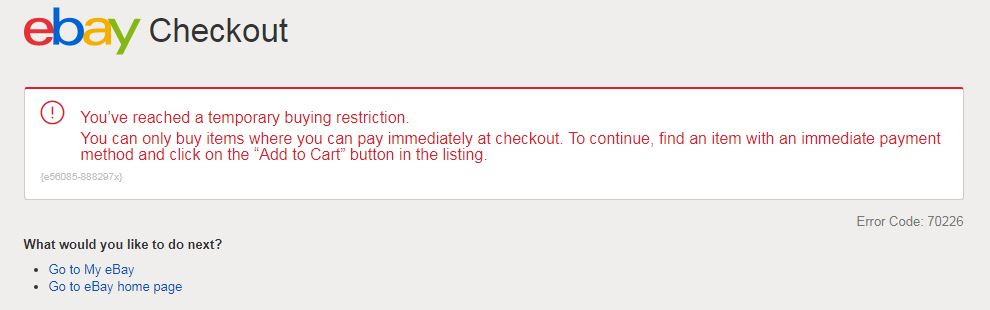 Error Message While Trying To Buy An Item Error C The Ebay Community