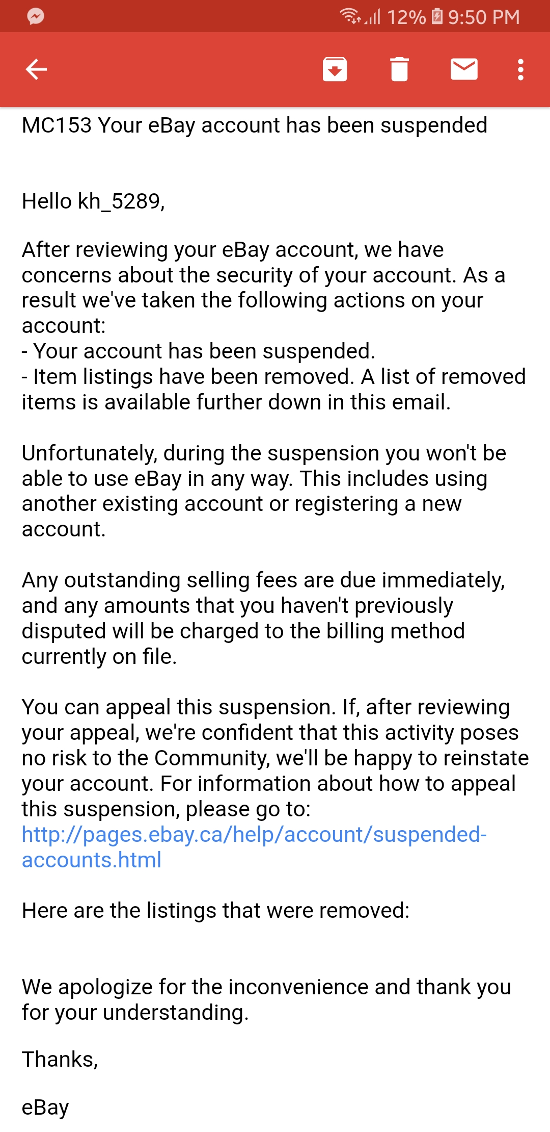 Solved Ebay Suspended My Account For No Reason The Ebay Community