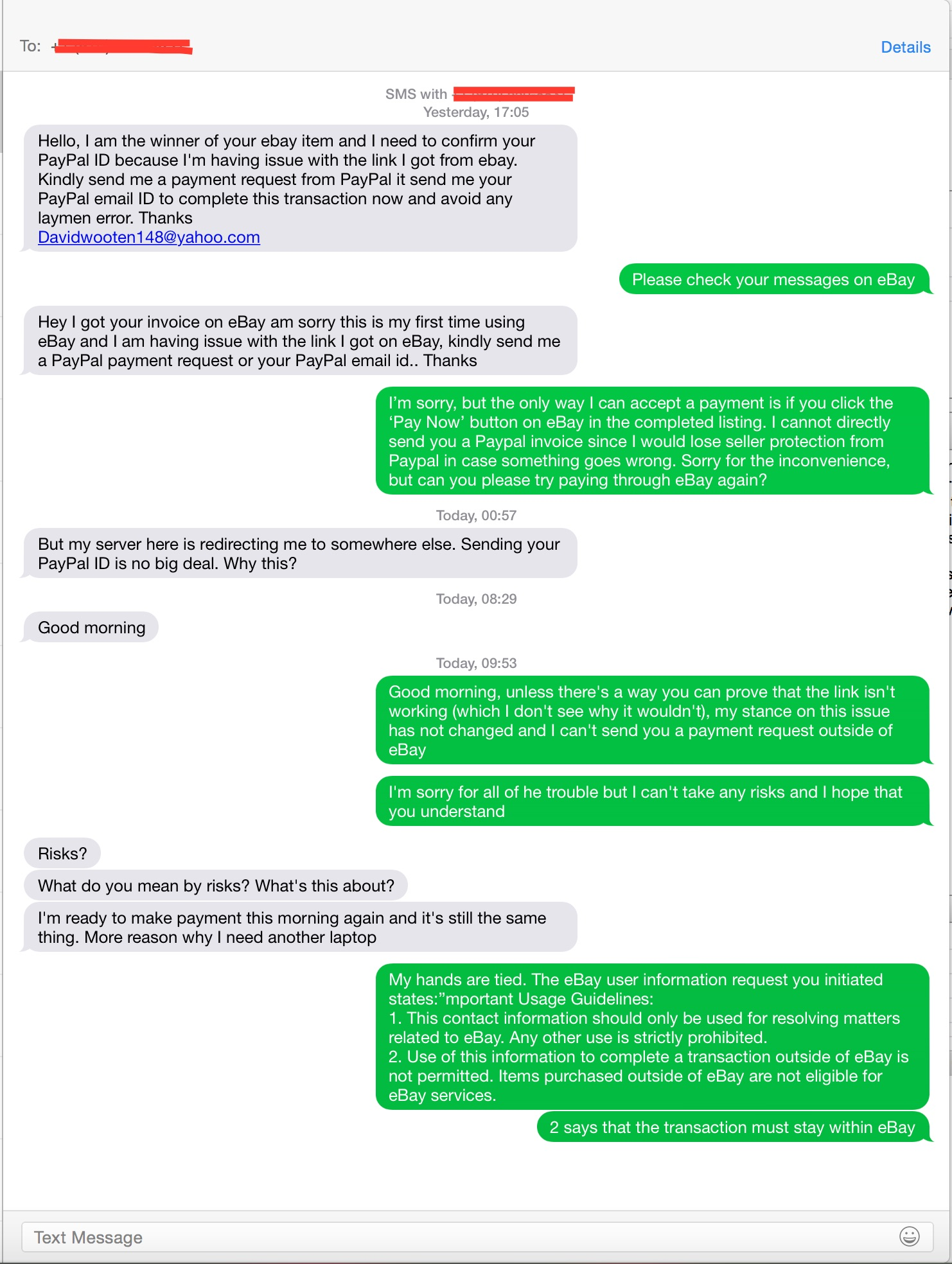 solved buyer insists that i send my paypal information fo the