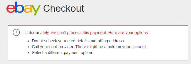 Ebay Payment Options >> I Can T Pay Why The Ebay Community