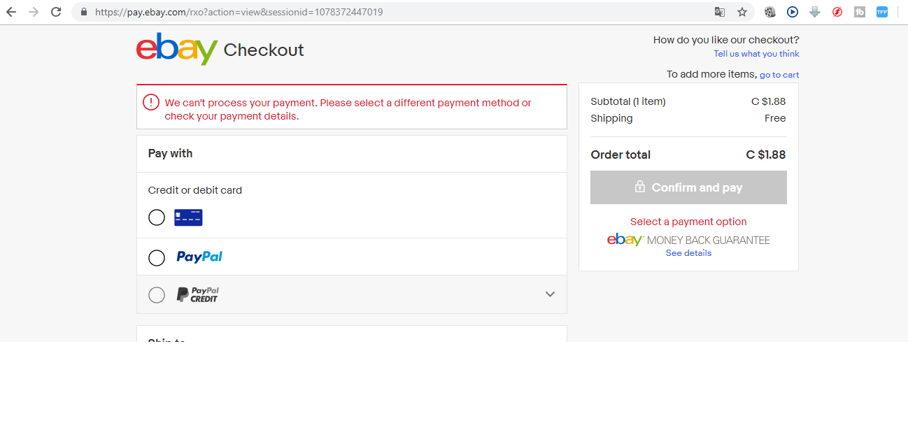 My Mastercard Is Not Accepting The Ebay Community