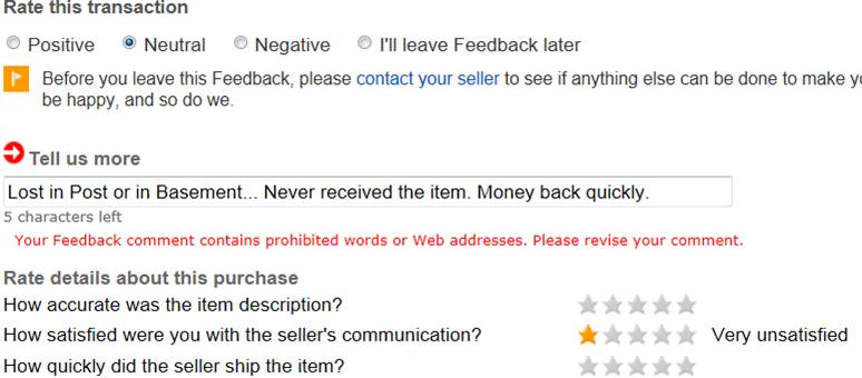 Solved Can T Leave Neutral Feedback For A Seller The Ebay Community