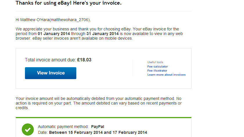 Late Invoice Paid On One Off Payment Apparently T The EBay - Ebay invoice payment