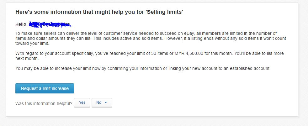 I Am Unable To Even Request For Selling Limit The Ebay Community