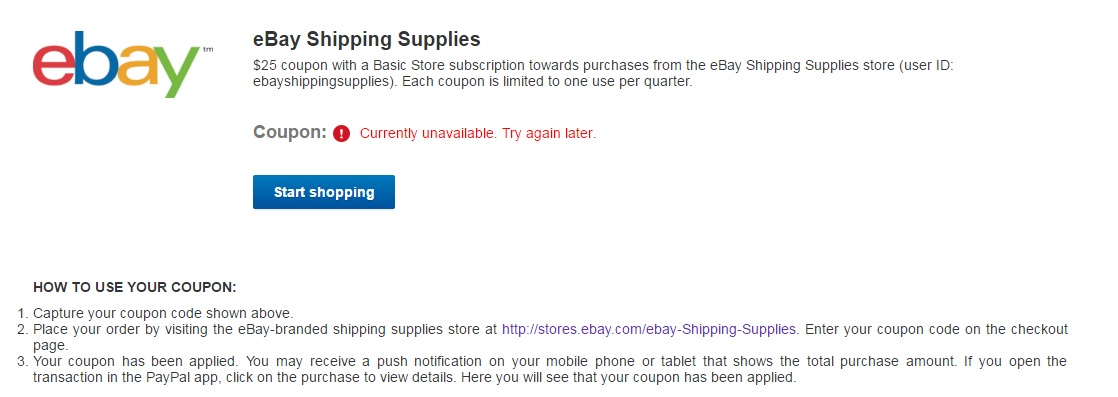 Can T Access My Seller Coupon For Shipping Supplie The Ebay Community