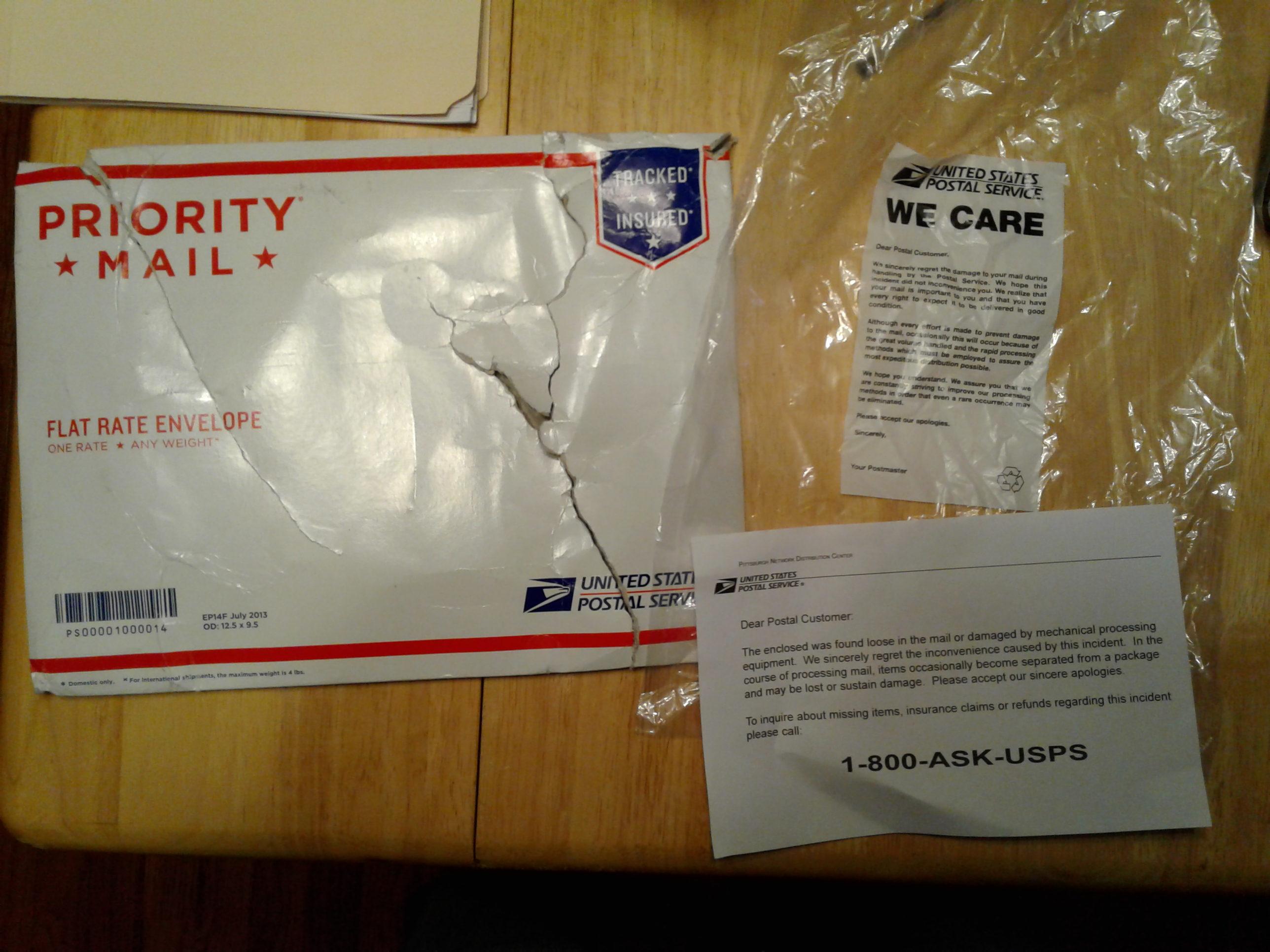 package allegedly damaged by usps