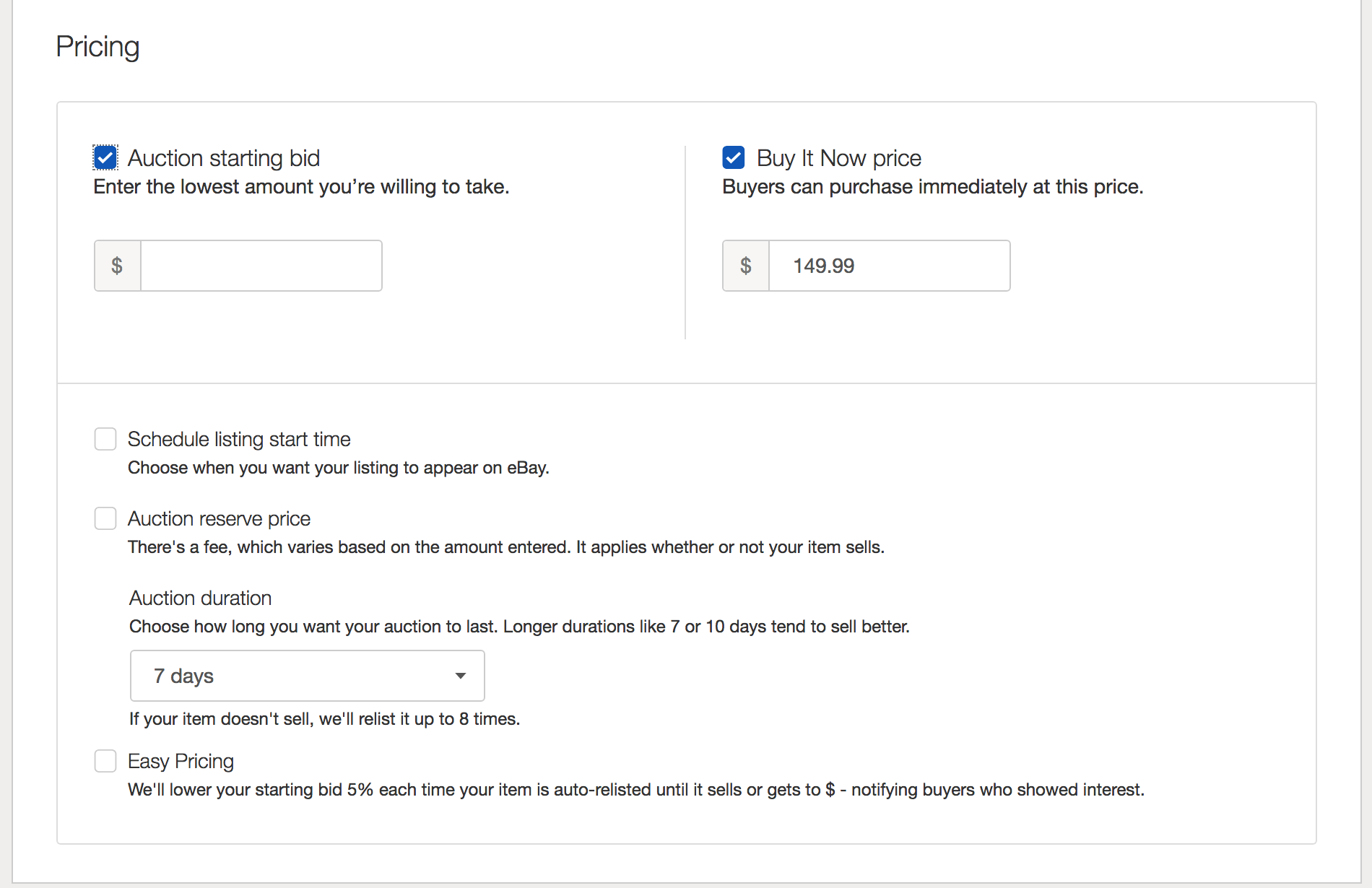 Trying To Create A 5 Day Fixed Price Listing The Ebay Community