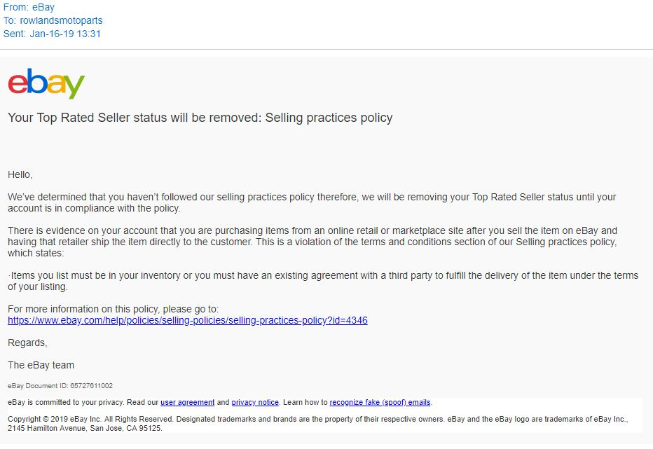 Solved Ebay Threatens To Remove Top Rated Status With The The Ebay Community