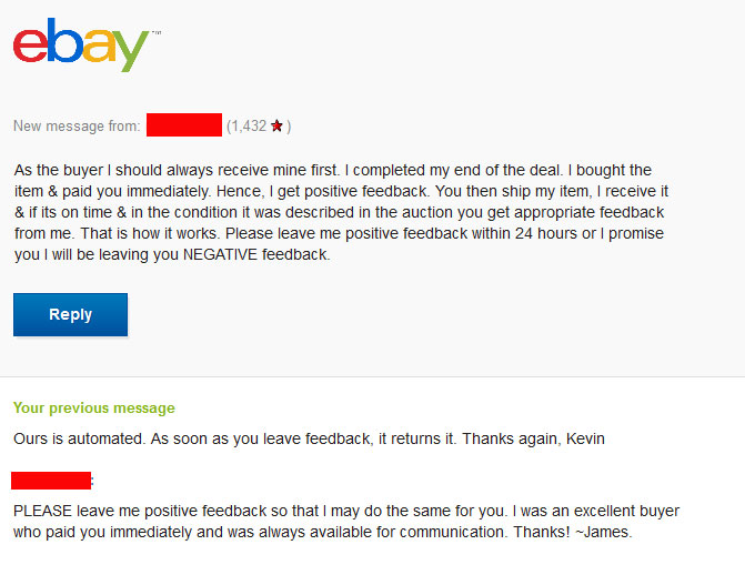 Buyer Threatening Negative Feedback If Demand Not The Ebay Community