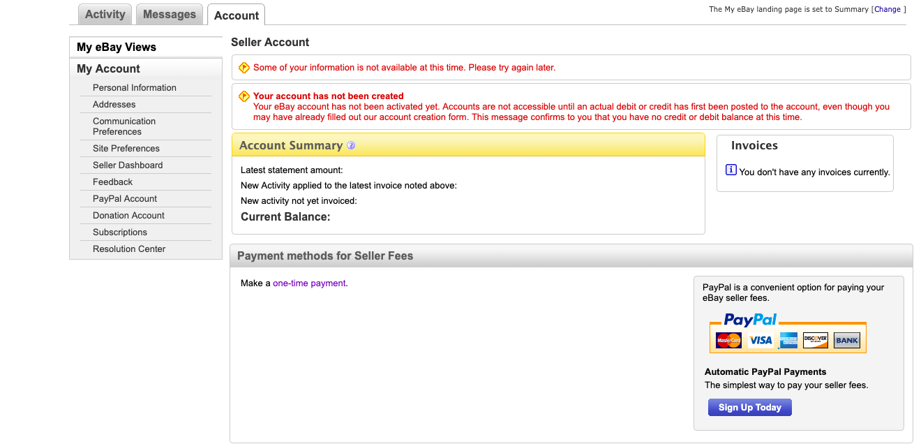 Solved Account Problem The Ebay Community