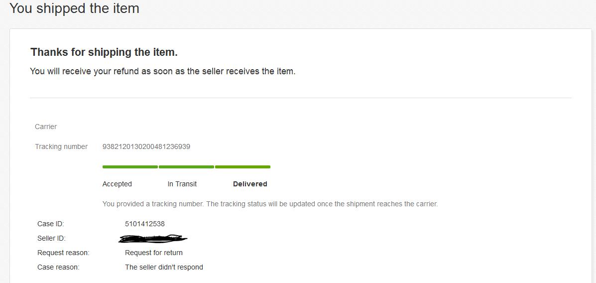 I returned an item using eBay return label   the i    - The