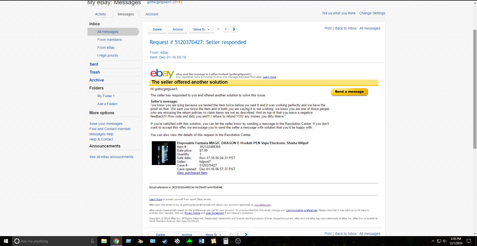 Hdpsni7 Rude Seller The Ebay Community
