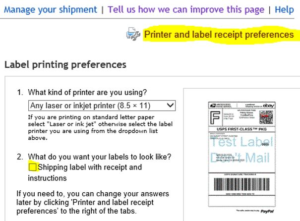 Print shipping label without receipt - The eBay Community