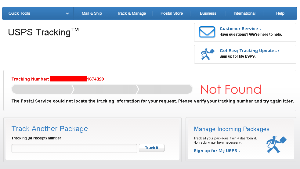 Usps not updating tracking number