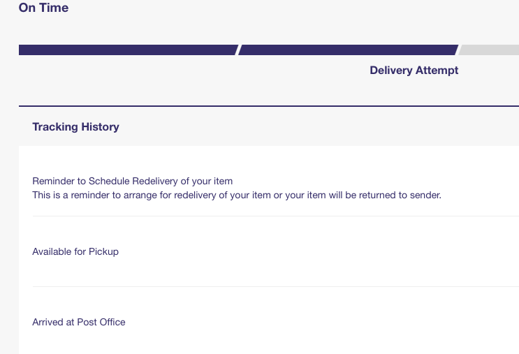 Reminder to schedule redelivery of item yet sent t    - The eBay