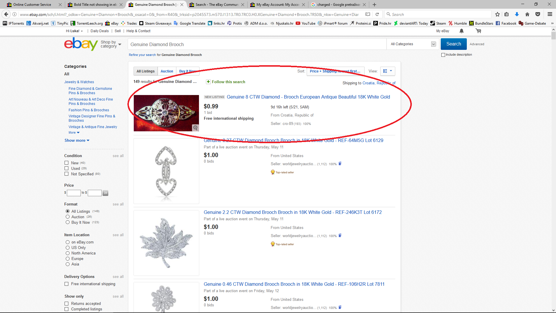 Bold Title not showing in ebay search result page?    - The