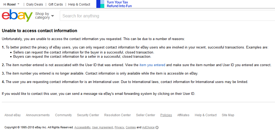 Find Contact Information The Ebay Community