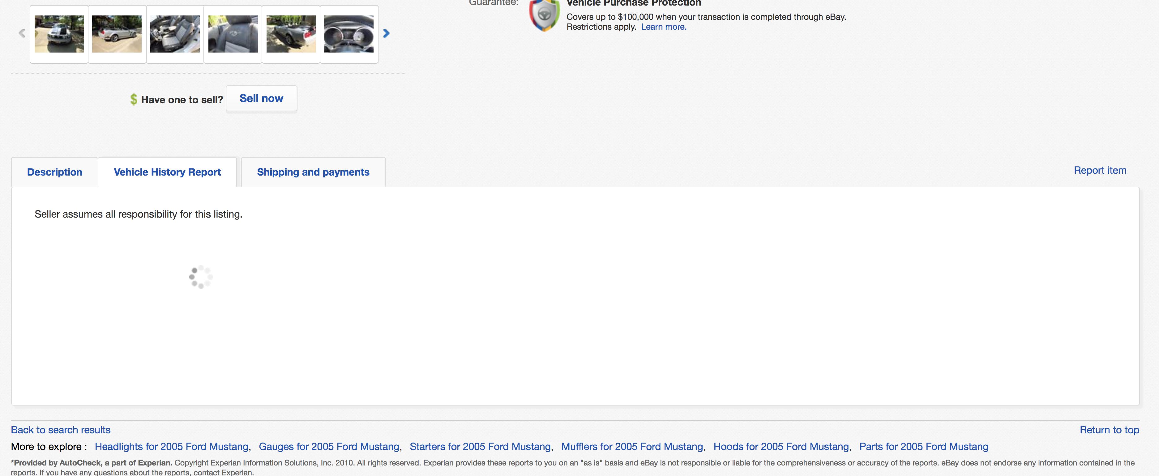 History Report On Ebay Motors Listings Not Working The Ebay Community