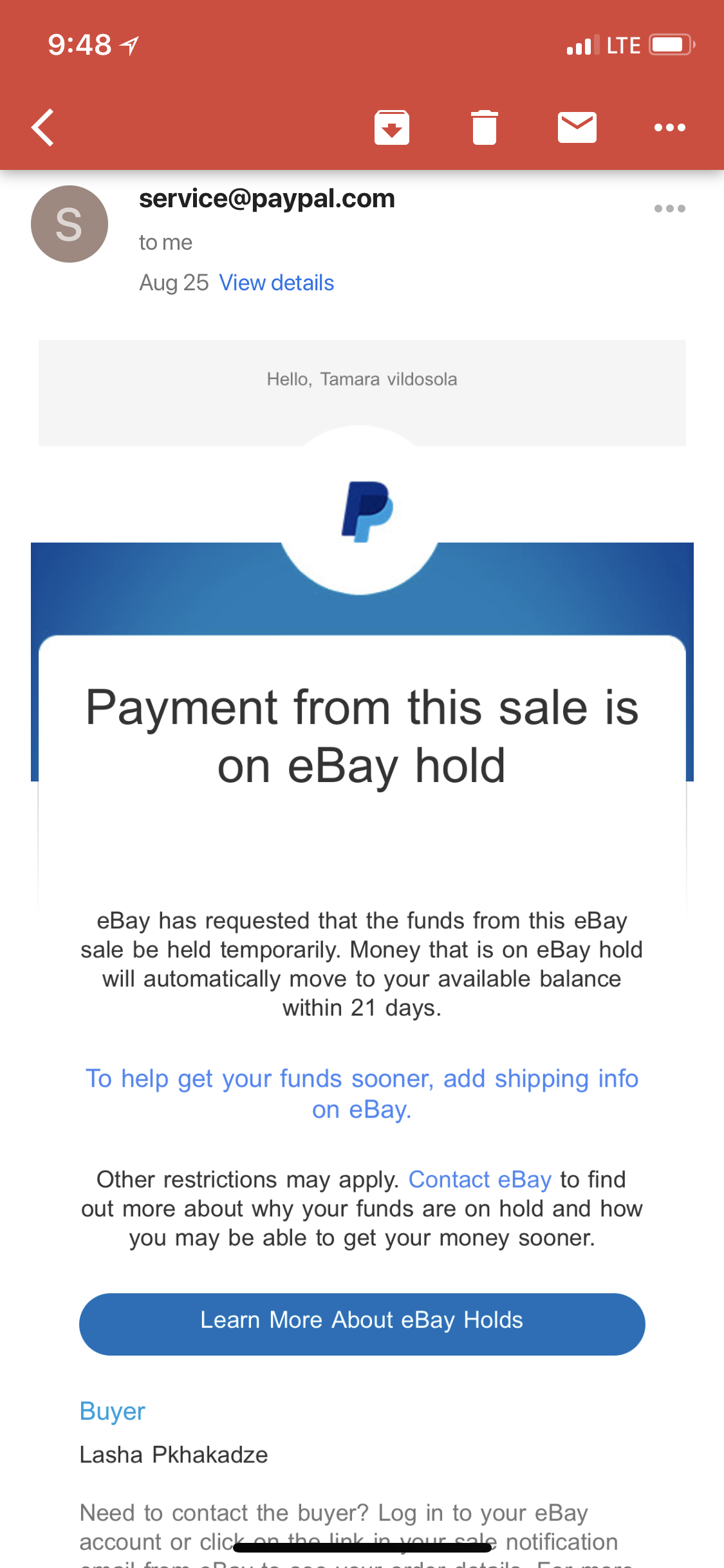 Payment from this sale is on eBay hold - The eBay Community