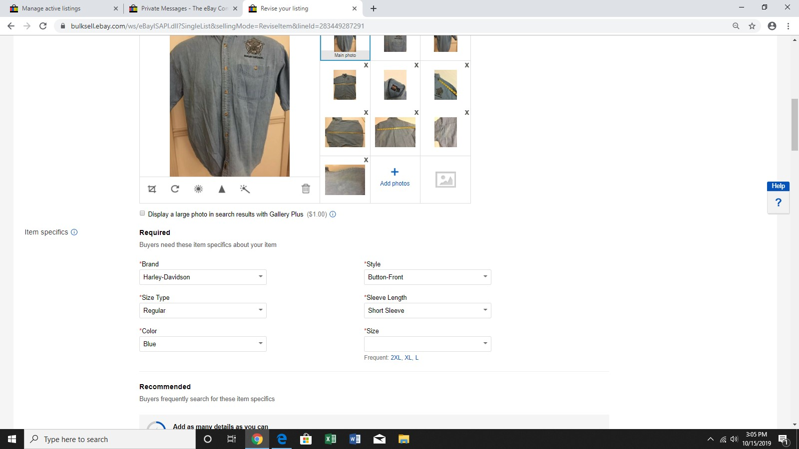Item Specific Size Bug Filled Out Correctly But Page 3 The Ebay Community