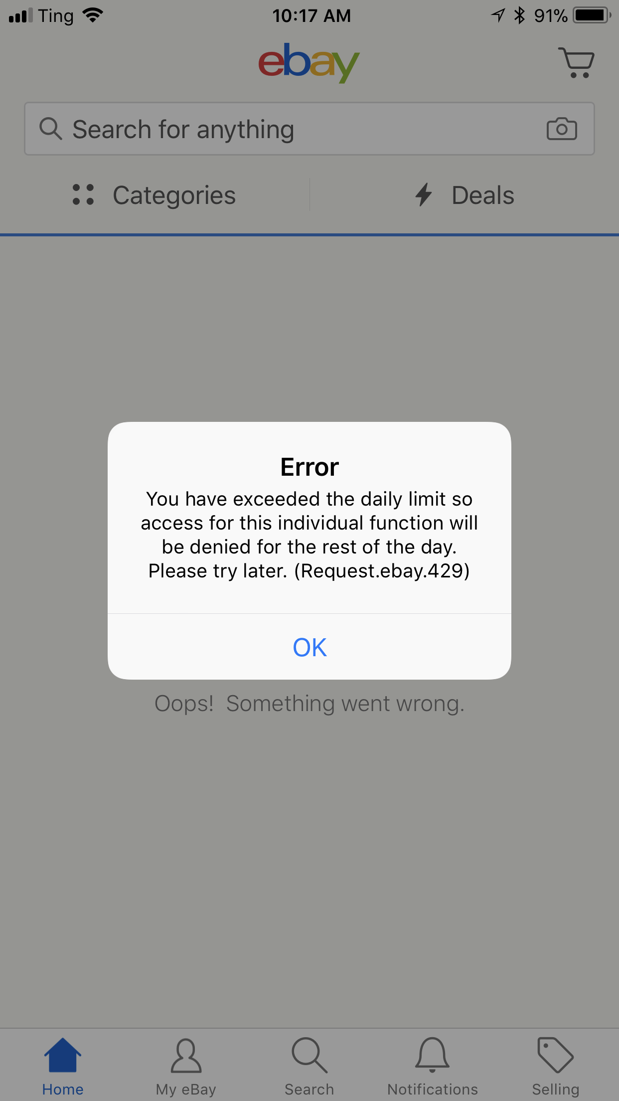 """Exceeded the daily limit"""" error message ***SOLVED    - The"""