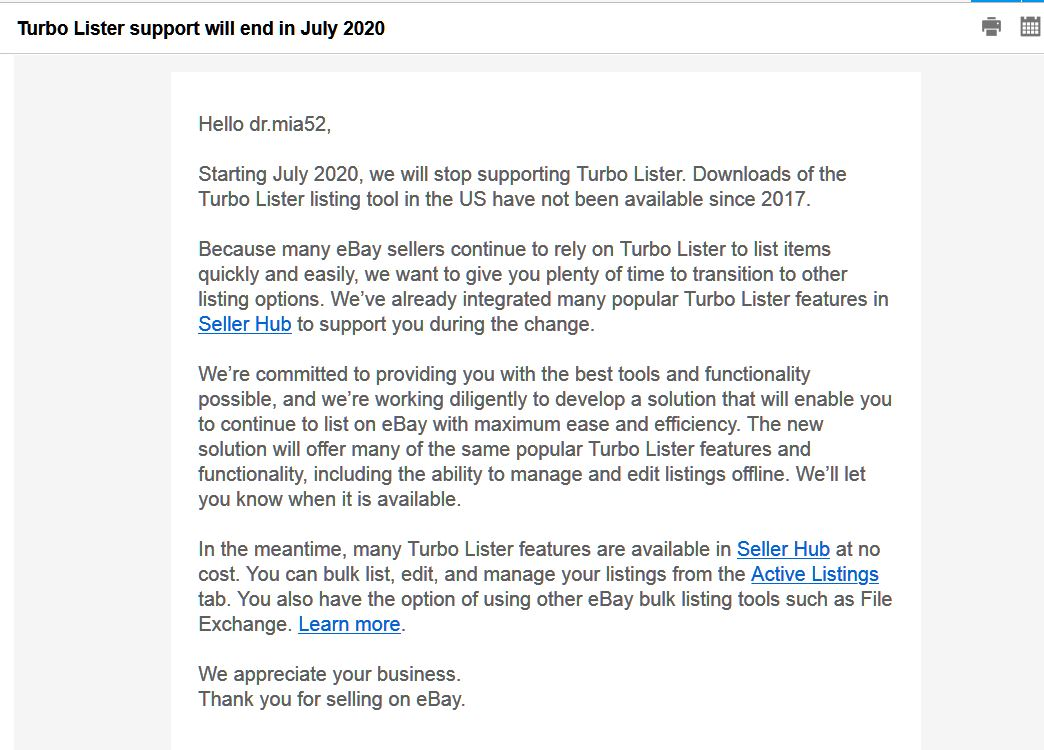 Ebay S Email Today No Longer Supporting Turbo Li The Ebay Community