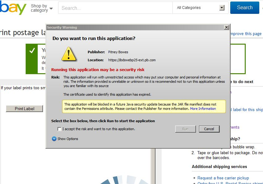 eBay Java Applet Error