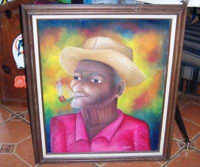 AA ART _ PAINTING HAITIAN MAN SMOKING PIPE SISIE 1AA.jpg