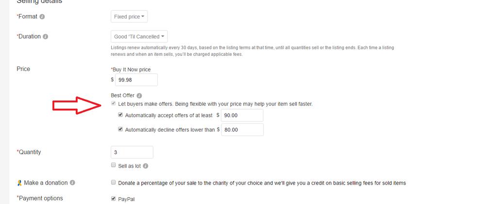 Remove best offer option ebay
