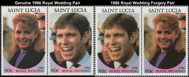 Comparison of Genuine St. Lucia RW stamps with Forgeries