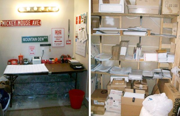 eBay seller Theresa Cox's (eBay store: ClubRed97) shipping space in her unfinished master bathroom.