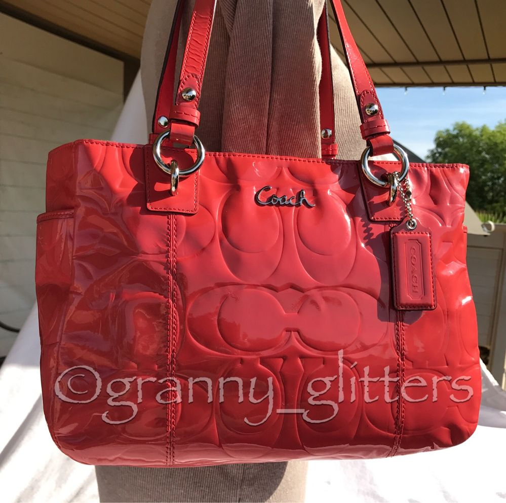 Coach Gallery East West Signature Embossed Patent Leather Tote