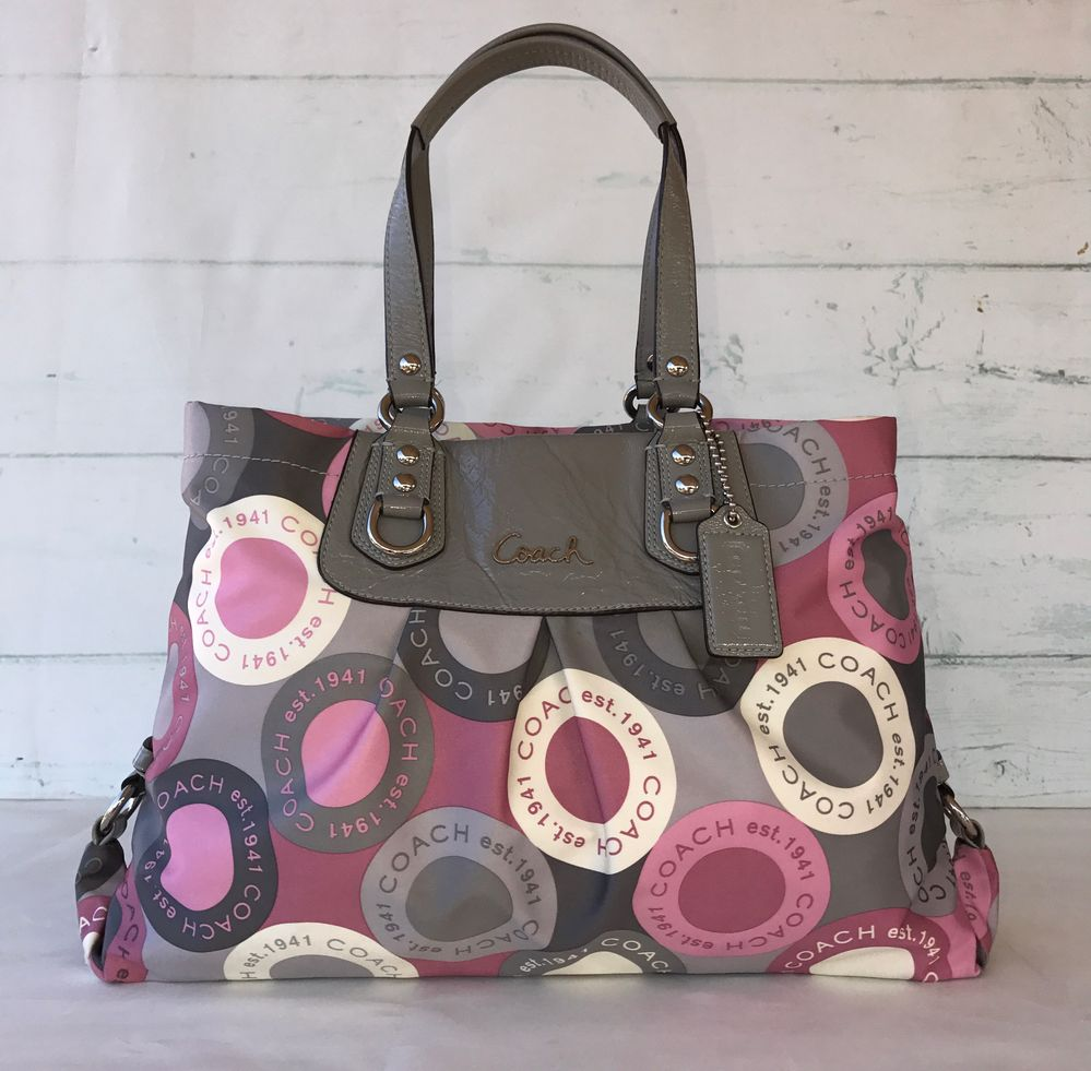 Coach Ashley Signature Pink Multicolored Snaphead Satchel Shoulder Bag