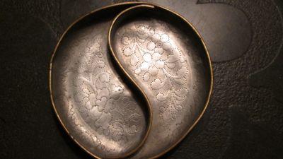 chinese pewter yin yang engraved dish bowl need he the ebay