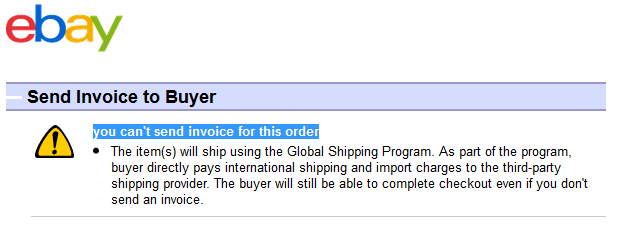 Issue With Invoice Global Shipping Program The EBay Community - Send invoice to buyer ebay