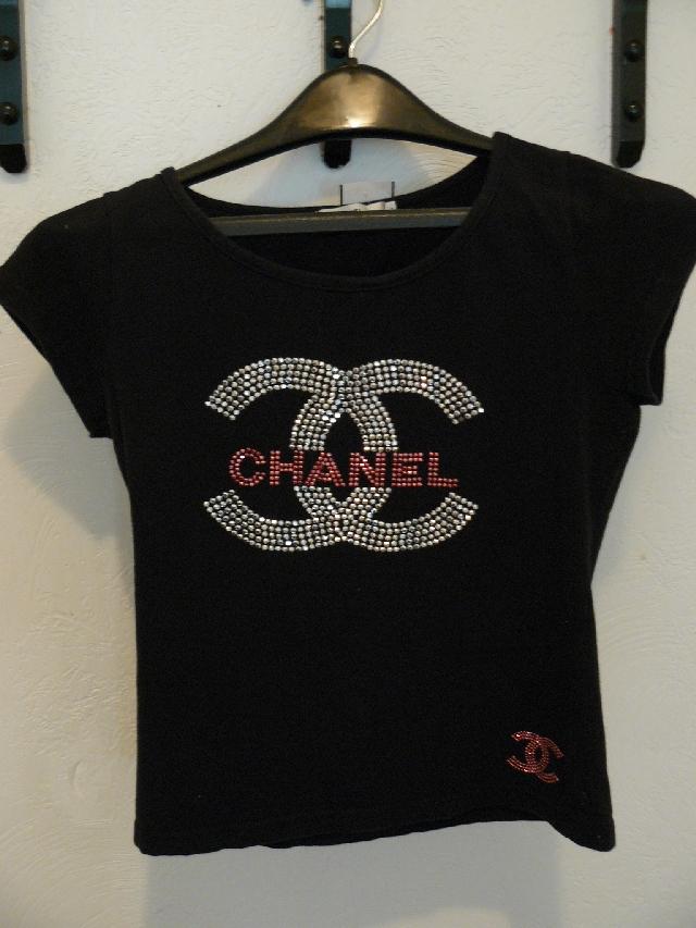 Authentic chanel t shirt rhinestones the ebay community for Authentic chanel logo t shirt