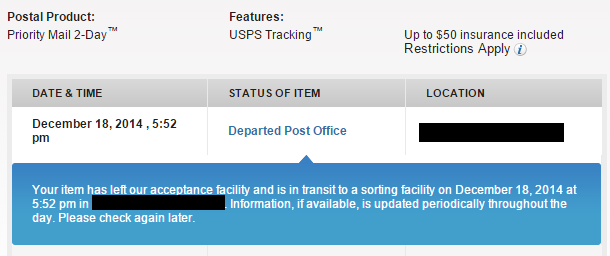 Usps tracking not updating 2014