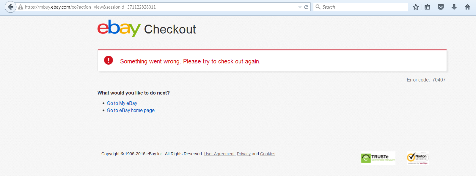 PayPal ERROR 70407 : Cannot pay with PayPal / - The eBay Community
