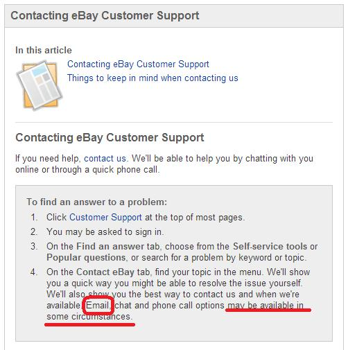 how to email ebay customer support